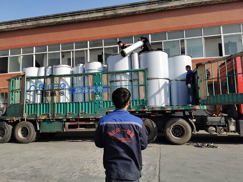 无锡一管通不锈钢风管、风阀、焊接风管装车发货,目的地天津,用于废气处理工程